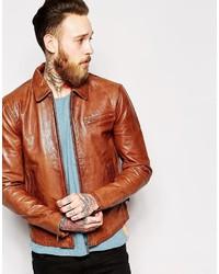 braune Leder Bomberjacke von Nudie Jeans