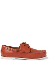 braune Leder Bootsschuhe von Bottega Veneta