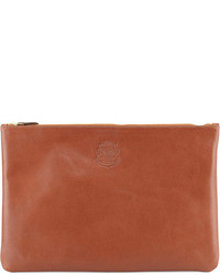 braune Leder Clutch Handtasche