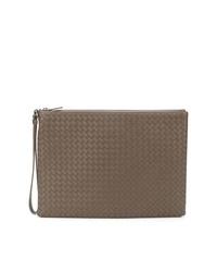 braune Leder Clutch Handtasche von Bottega Veneta