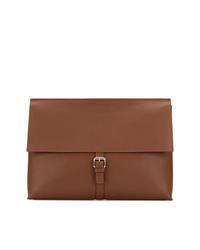 braune Leder Clutch Handtasche von Orciani