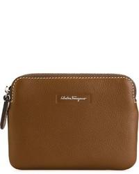 braune Leder Clutch Handtasche von Salvatore Ferragamo
