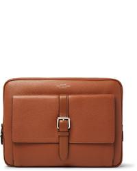 braune Leder Clutch Handtasche von Smythson