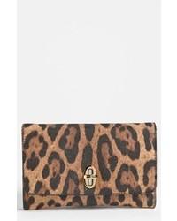 braune Leder Clutch mit Leopardenmuster