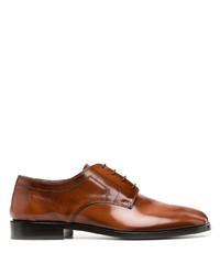 braune Leder Derby Schuhe von Maison Margiela