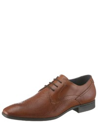 braune Leder Derby Schuhe von PETROLIO