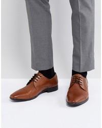 braune Leder Derby Schuhe von Pier One