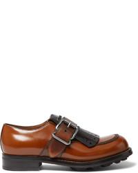braune Leder Derby Schuhe von Prada