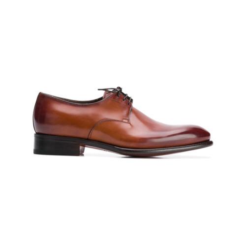 braune Leder Derby Schuhe von Santoni