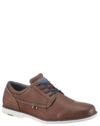 braune Leder Derby Schuhe von Tom Tailor