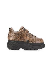 braune Leder niedrige Sneakers mit Schlangenmuster von Buffalo