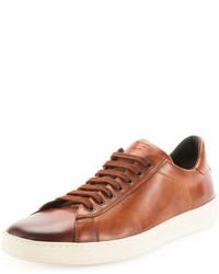 braune Leder niedrige Sneakers