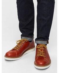 braune Leder niedrige Sneakers von Selected Homme