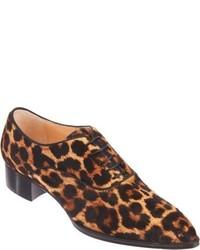 braune Leder Oxford Schuhe mit Leopardenmuster