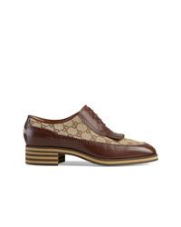braune Leder Oxford Schuhe von Gucci