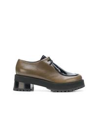 braune Leder Oxford Schuhe von Marni