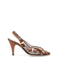 braune Leder Pumps mit Schlangenmuster von Gucci