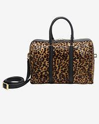 braune Leder Reisetasche mit Leopardenmuster