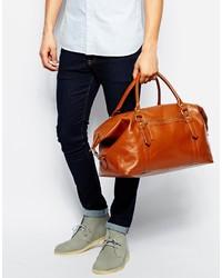braune Leder Reisetasche von Asos