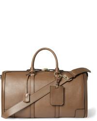 braune Leder Reisetasche von Burberry