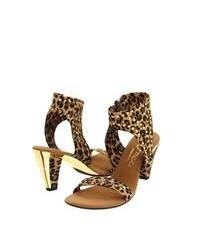 braune Leder Sandaletten mit Leopardenmuster