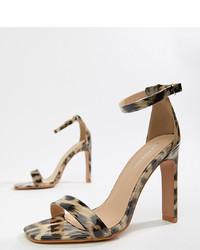 braune Leder Sandaletten mit Leopardenmuster von Glamorous