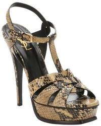 braune Leder Sandaletten mit Schlangenmuster