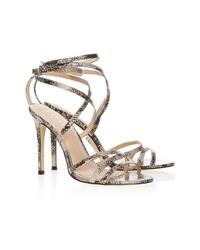 braune Leder Sandaletten mit Schlangenmuster von Lipsy