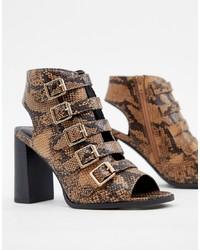 braune Leder Sandaletten mit Schlangenmuster von New Look