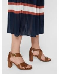 braune Leder Sandaletten von Bianco