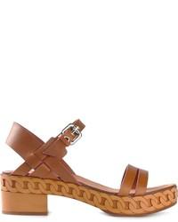 braune Leder Sandaletten von Casadei