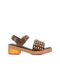 braune Leder Sandaletten von Marni