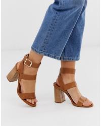 braune Leder Sandaletten von Office