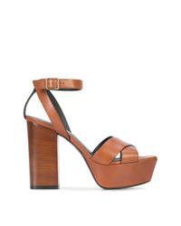 braune Leder Sandaletten von Saint Laurent
