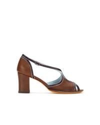 braune Leder Sandaletten von Sarah Chofakian