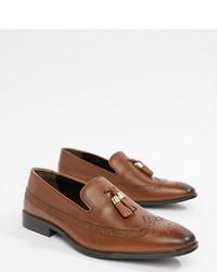 braune Leder Slipper mit Quasten von ASOS DESIGN