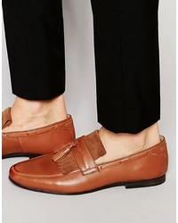 braune Leder Slipper mit Quasten von Asos