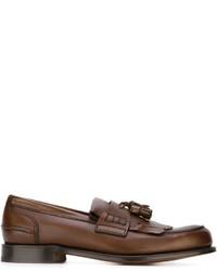 braune Leder Slipper mit Quasten von Church's