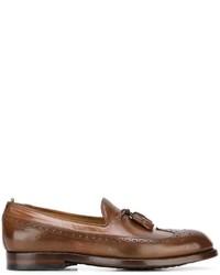 braune Leder Slipper mit Quasten von Officine Creative