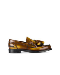 braune Leder Slipper mit Quasten von Prada