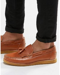 Braune Leder Slipper mit Quasten