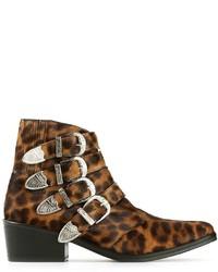 braune Leder Stiefeletten mit Leopardenmuster