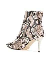 braune Leder Stiefeletten mit Schlangenmuster von Marc Ellis