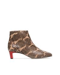 braune Leder Stiefeletten mit Schlangenmuster von Atp Atelier