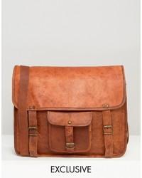 braune Leder Umhängetasche von Reclaimed Vintage