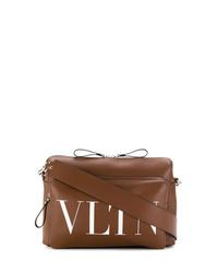 braune Leder Umhängetasche von Valentino