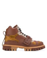 braune Lederarbeitsstiefel von Dolce & Gabbana