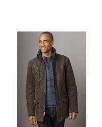 Braune Lederjacke mit kentkragen und knöpfen