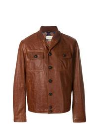 braune Shirtjacke aus Leder von Gucci