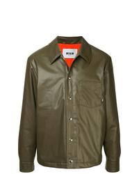 braune Shirtjacke aus Leder von MSGM